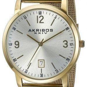 Akribos Xxiv Ak858yg Kello Hopea / Kullansävytetty