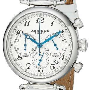 Akribos Xxiv Chronograph Ak630ssw Kello Valkoinen / Nahka