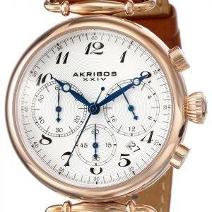 Akribos Xxiv Chronograph Ak630tn Kello Valkoinen / Nahka