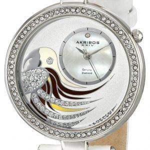 Akribos Xxiv Diamond Ak602wt Kello Valkoinen / Nahka
