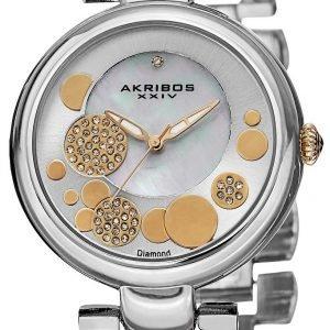 Akribos Xxiv Diamond Ak643ttg Kello Hopea / Kullansävytetty