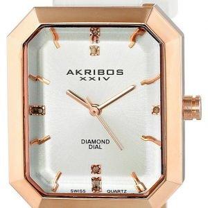 Akribos Xxiv Diamond Ak749wtr Kello Hopea / Nahka