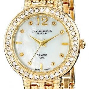 Akribos Xxiv Diamond Ak757yg Kello Valkoinen / Kullansävytetty