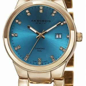 Akribos Xxiv Diamond Ak759ygt Kello Sininen / Kullansävytetty