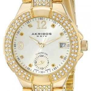 Akribos Xxiv Diamond Ak775yg Kello Samppanja / Kullansävytetty