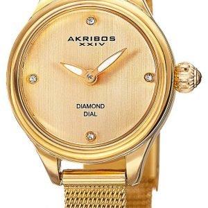 Akribos Xxiv Diamond Ak873yg Kello Samppanja / Kullansävytetty