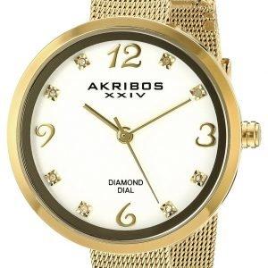 Akribos Xxiv Diamond Ak875yg Kello Valkoinen / Kullansävytetty