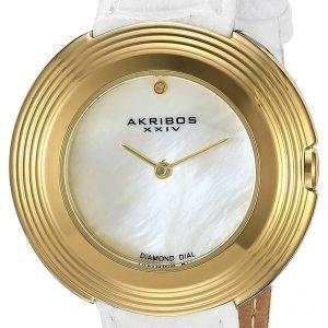 Akribos Xxiv Diamond Ak876wtg Kello Valkoinen / Nahka