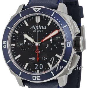 Alpina Seastrong Al-372lbn4v6 Kello Musta / Nahka