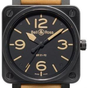 Bell & Ross Br 01-92 Br0192-Heritage Kello Musta / Nahka