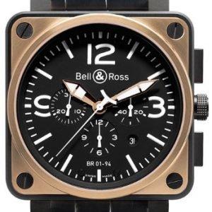 Bell & Ross Br 01-94 Br0194-Bicolor Kello Musta / Nahka