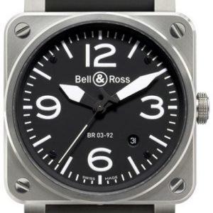 Bell & Ross Br 03-92 Br0392-Bl-St Kello Musta / Kumi