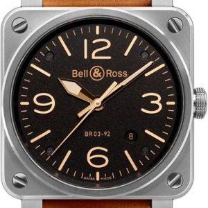 Bell & Ross Br 03-92 Br0392-St-G-He-Sca Kello Musta / Nahka