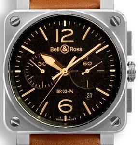 Bell & Ross Br 03-94 Br0394-St-G-He-Sca Kello Musta / Nahka
