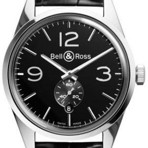 Bell & Ross Br 123 Brg123-Bl-St-Scr Kello Musta / Nahka