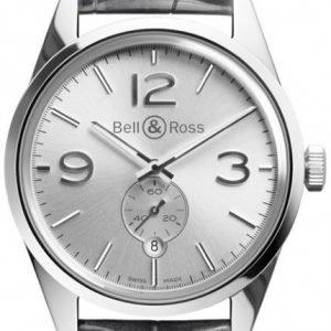 Bell & Ross Br 123 Brg123-Wh-St-Scr Kello Hopea / Nahka