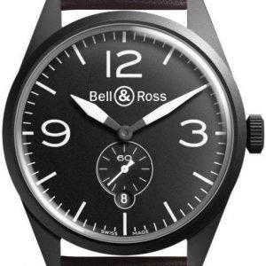 Bell & Ross Br 123 Brv123-Bl-Ca-Sca Kello Musta / Nahka