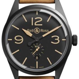 Bell & Ross Br 123 Brv123-Heritage Kello Musta / Nahka