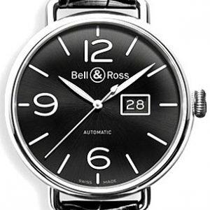 Bell & Ross Ww1 Brww196-Bl-St Kello Musta / Nahka