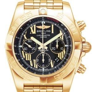 Breitling Chronomat 44 Hb011012-B957-375h Kello Musta / 18k