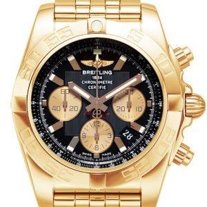 Breitling Chronomat 44 Hb011012-B968-375h Kello Musta / 18k