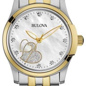 Bulova 98p152 Kello Valkoinen / Kullansävytetty Teräs