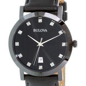 Bulova Diamond 98d124 Kello Musta / Nahka