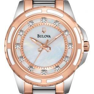 Bulova Diamond 98p134 Kello Valkoinen / Punakultasävyinen