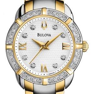 Bulova Maribor 98r170 Kello Valkoinen / Kullansävytetty Teräs