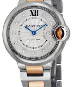 Cartier Ballon Blue We902061 Kello Hopea / 18k Punakultaa