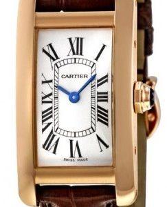 Cartier Tank Americaine W2607456 Kello Hopea / Nahka