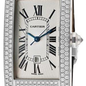 Cartier Tank Americaine Wb710002 Kello Hopea / Nahka