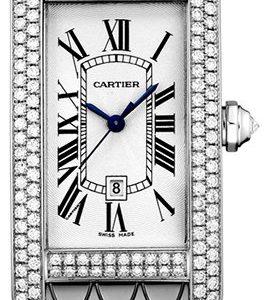 Cartier Tank Americaine Wb710011 Kello Hopea / 18k Valkokultaa