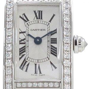 Cartier Tank Americaine Wb710013 Kello Hopea / 18k Valkokultaa