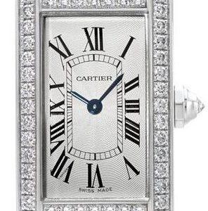 Cartier Tank Americaine Wjta0003 Kello Hopea / Nahka