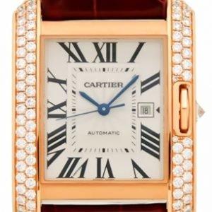 Cartier Tank Anglaise Wt100016 Kello Hopea / Nahka