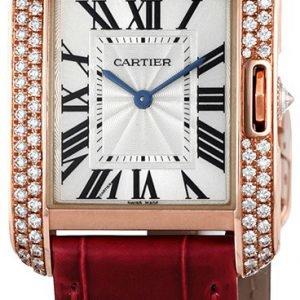 Cartier Tank Anglaise Wt100029 Kello Hopea / Nahka