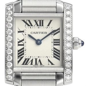 Cartier Tank Francaise W4ta0008 Kello Hopea / Teräs