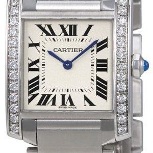 Cartier Tank Francaise W4ta0009 Kello Hopea / Teräs