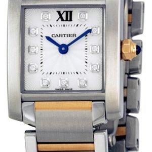 Cartier Tank Francaise We110004 Kello Hopea / 18k Punakultaa