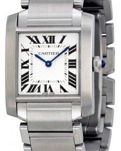 Cartier Tank Francaise Wsta0005 Kello Hopea / Teräs