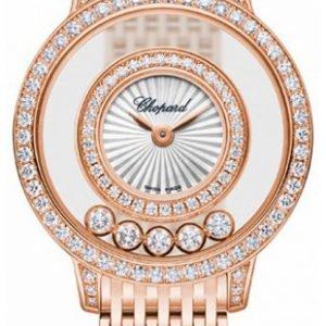 Chopard Happy Diamonds 209411-5001 Kello Hopea / 18k Punakultaa