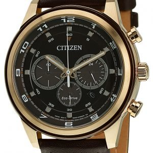 Citizen Chrono Ca4037-01w Kello Ruskea / Nahka