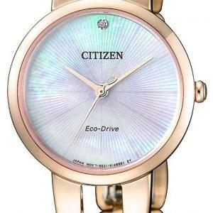 Citizen Dress Em0433-87d Kello Hopea / Kullansävytetty Teräs