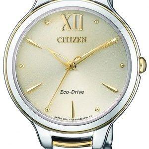 Citizen Elegance Em0554-82x Kello Beige / Kullansävytetty