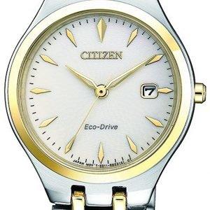 Citizen Elegance Ew2484-82b Kello Valkoinen / Kullansävytetty