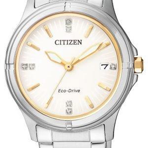 Citizen Elegance Fe6054-54a Kello Valkoinen / Kullansävytetty