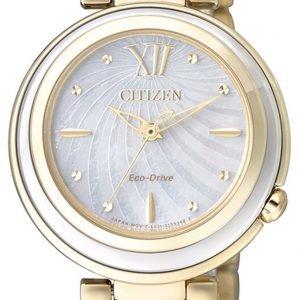 Citizen Em0336-59d Kello Hopea / Kullansävytetty Teräs