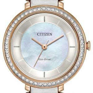 Citizen Em0483-89d Kello Valkoinen / Punakultasävyinen