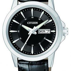 Citizen Leather Eq0601-03e Kello Musta / Nahka
